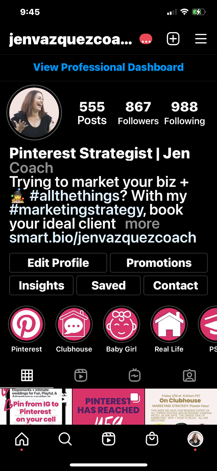 Instagram insights to see which post to share on Pinterest by Jen Vazquez Marketing Strategist 1