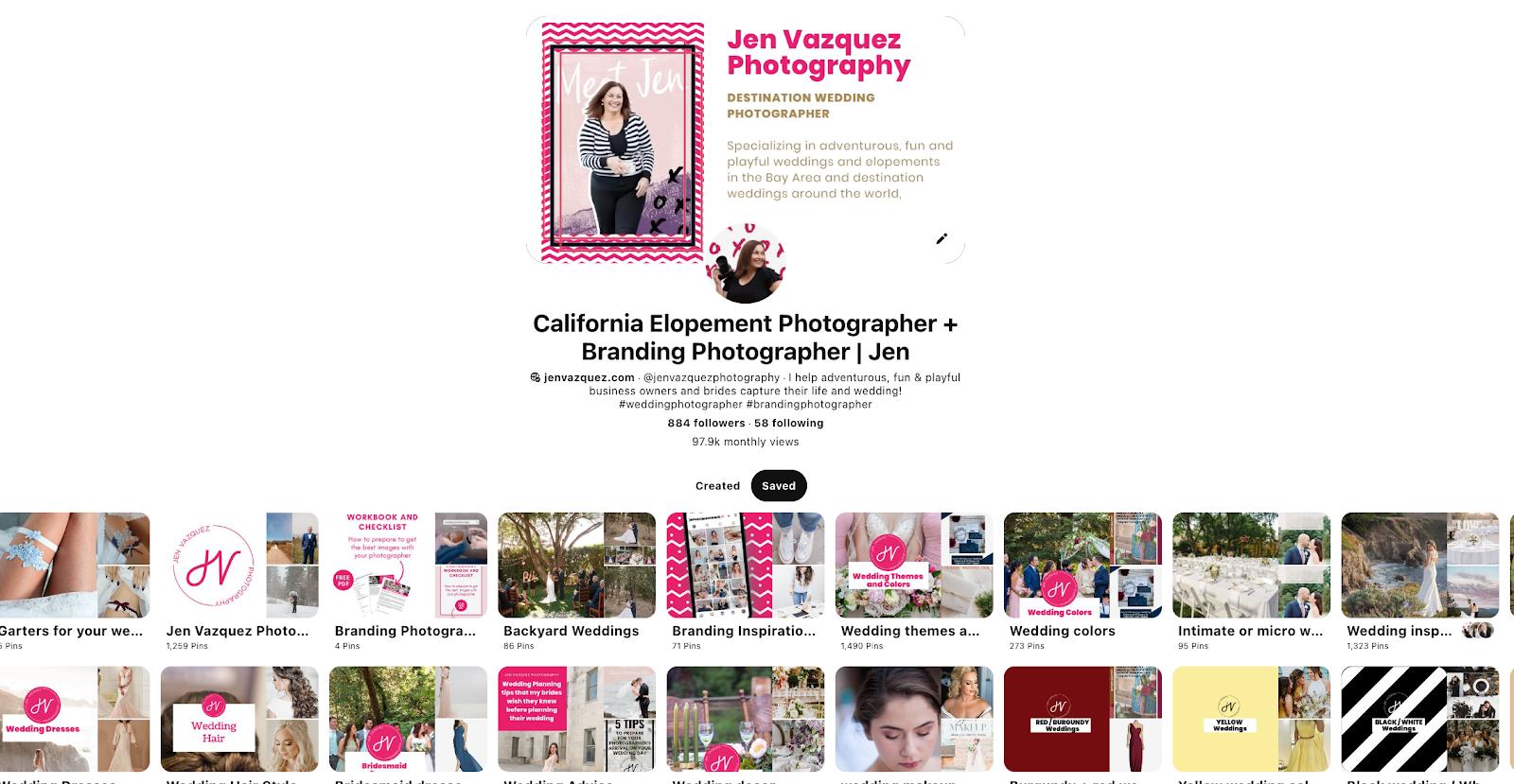 Pinterest Profile example by Jen Vazquez a Marketing Strategiest specializing in Pinterest Marketing