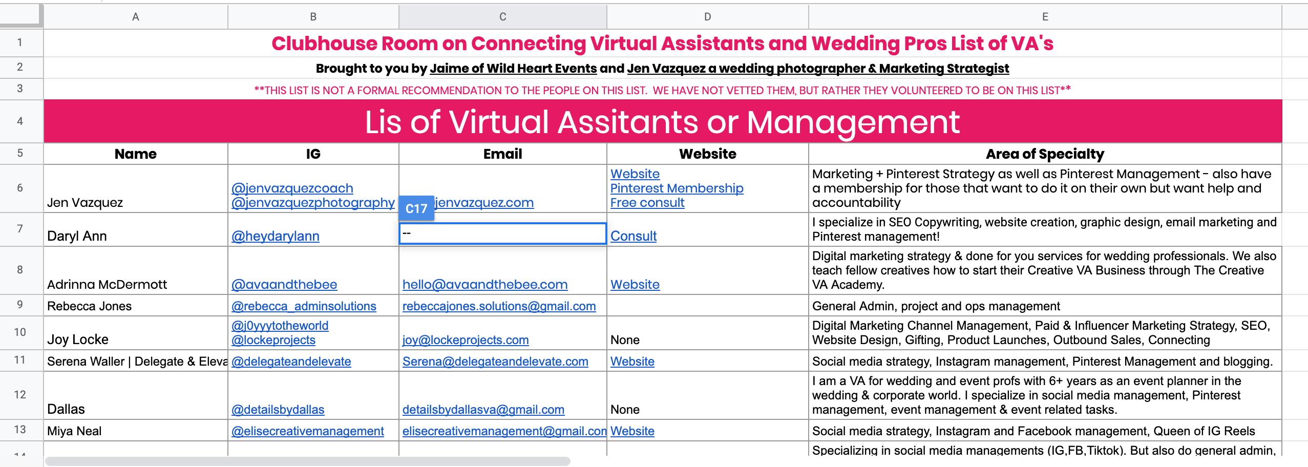 Screen Shot of VA's and Management companies